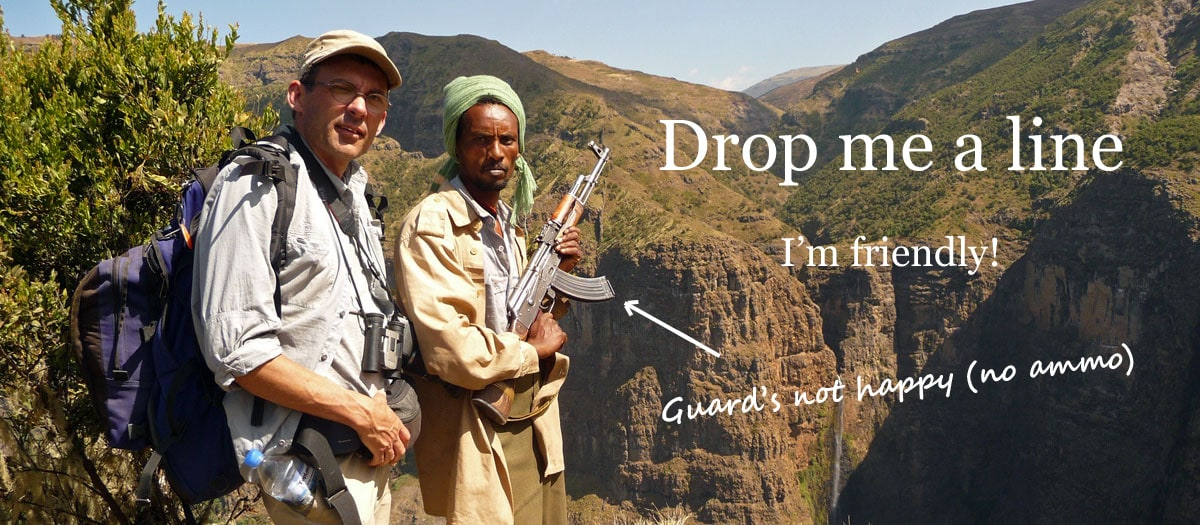 My armed guide and me hiking in Ethiopia