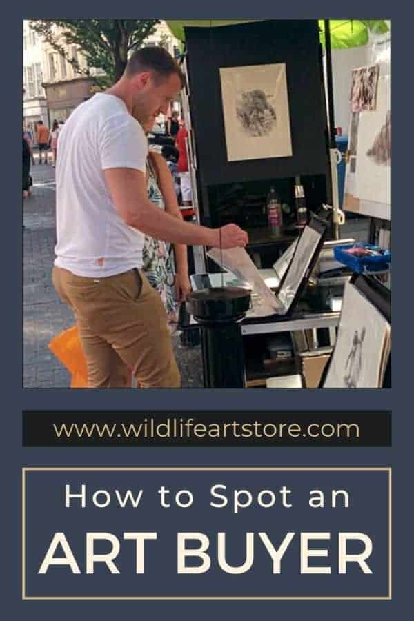 How to spot an art buyer image for pinterest Two customers browsing art in a street market