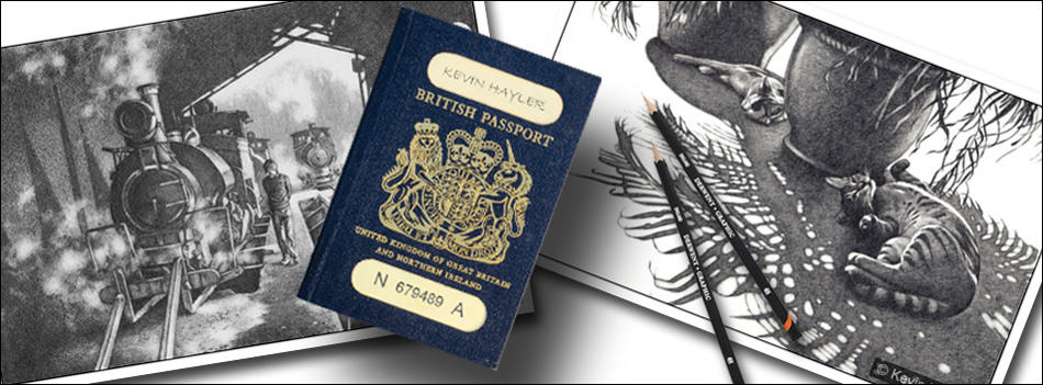 How to sell your art and travel the world header image. Passport and old drawings
