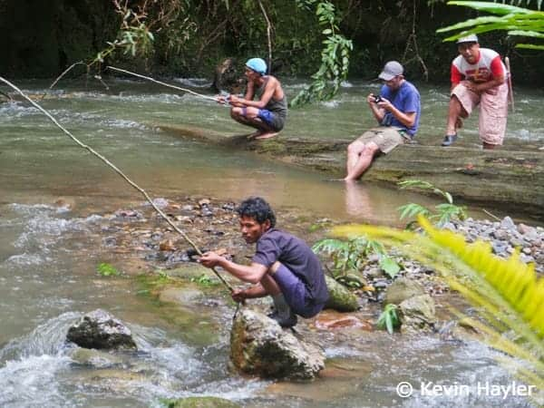 The guides relaxing at camp with a spot of fishing in Gunung Leuser National Park