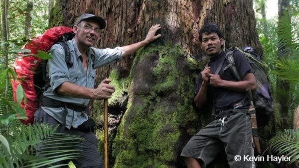 Kevin Hayler with his guide on a wildlife photography trip in Gunung Leuser National park
