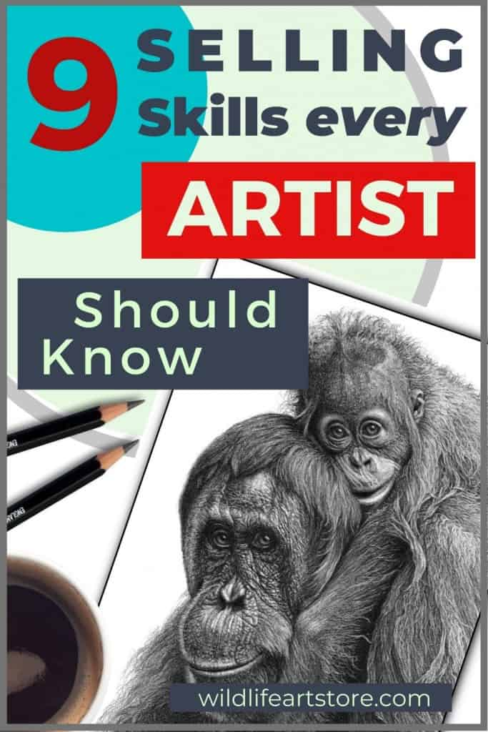 sell more art image for Pinterest. A drawing with various art materials