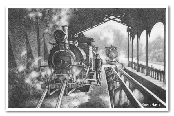 Drawing of steam trains using lead lines and one vanishing point