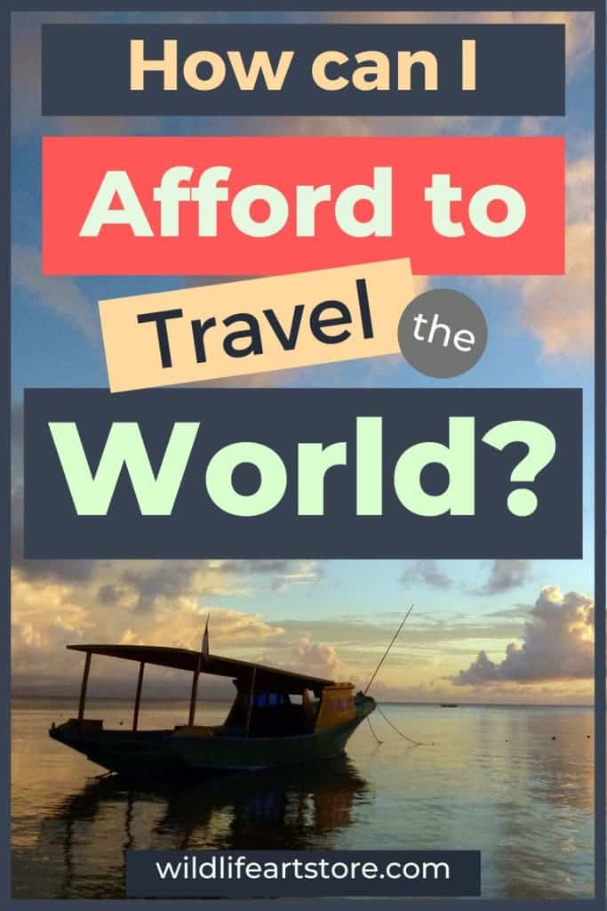 How can I afford to travel the world? Sunset with a boat in Indonesia. For Pinterest