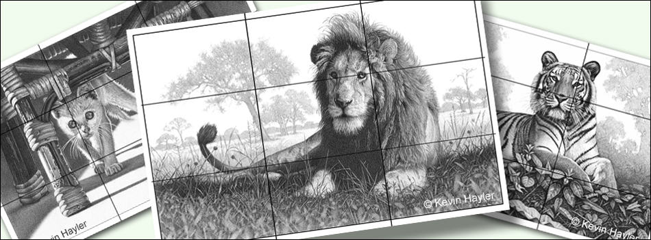 how to plan and compose your art header image. 3 example gridded drawings