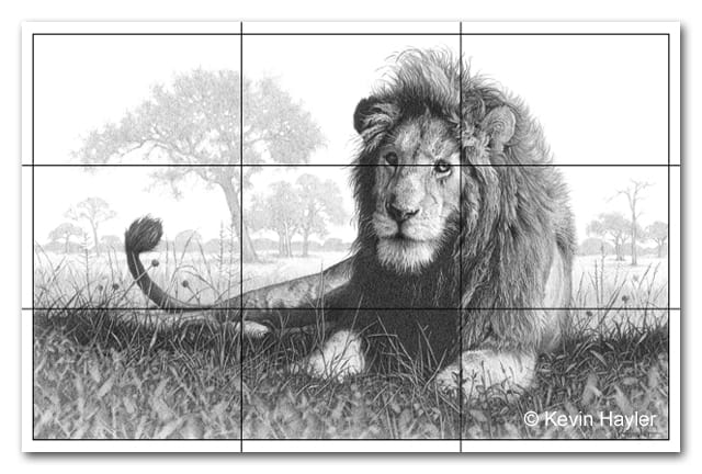 lion drawing with a rule of thirds grid. Composition rules