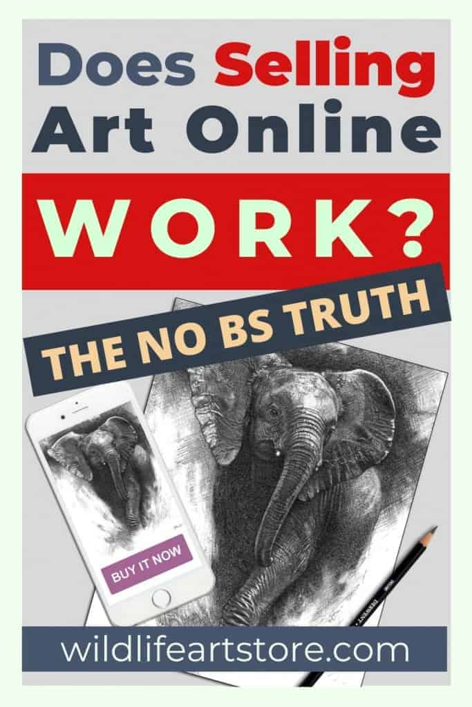 Does selling art online work? Elephant drawing and mobile phone image for Pinterest