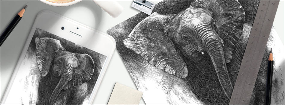 Is selling art online profitable? Elephant drawing, smartphone, and art materials
