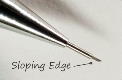 Mechanical pencil tip chamfered for shading realistically