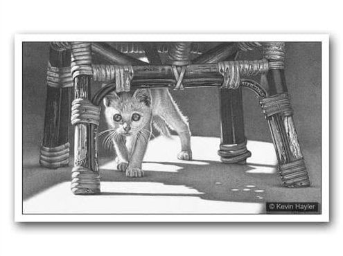 An example drawing of a kitten under a chair with heavy shadows