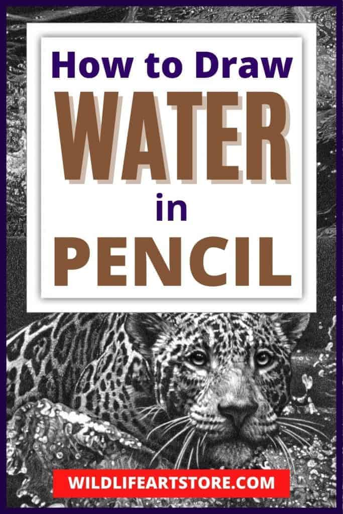 How to draw water in pencil, an image for Pinterest. A drawing of a jaguar leaping into water.