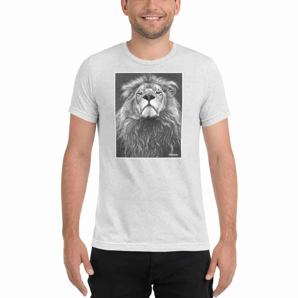 Man with a lions head t-shirt