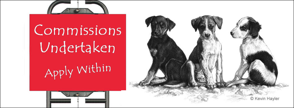 Commissions Undertaken sign with a drawing of 3 puppies
