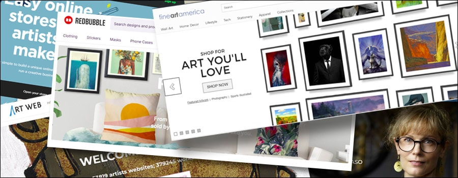 homepage screenshots of art sites to sell your art