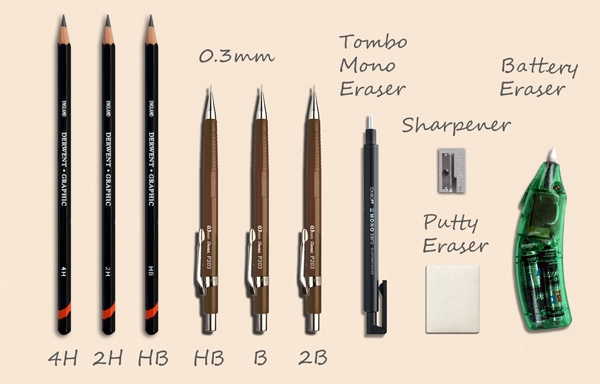 Basic art materials needed for drawing realistically