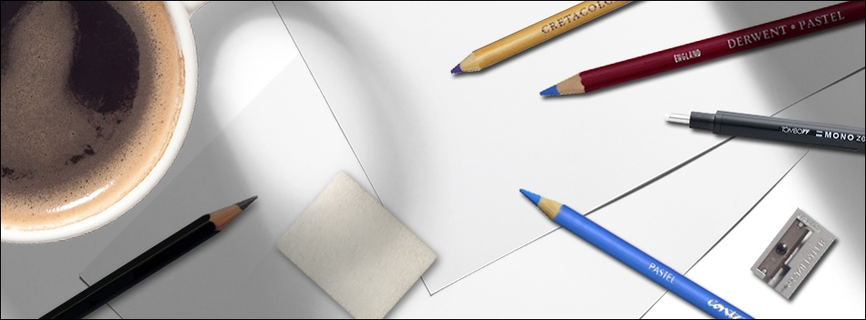 artists block header with blank paper and art materials